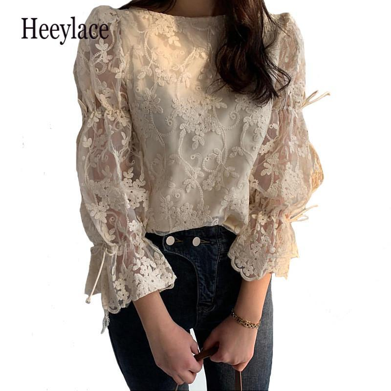 Women's Blouses & Shirts Summer Autumn Girl Chiffon Shirt Fashion Embroidered Lace Tops Elegant Flare Sleeve Casual Women Blouse Blusa
