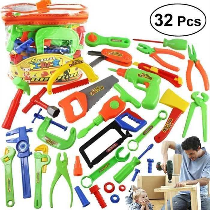 Toy Repair Tool Play Set Hammer Screwdriver Bolt Kid Children Learning Cordless Drill Wrenc Pretend Simulation Garden Gifts LJ201009
