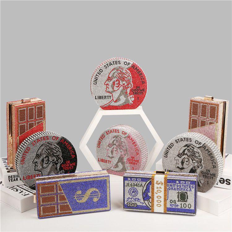 Rhinestone 2020 Diamond New Label Luxury Elegant Bling Privado Diamond Bag Dollar Monedero Bolso de noche Bolsos de embrague redondo
