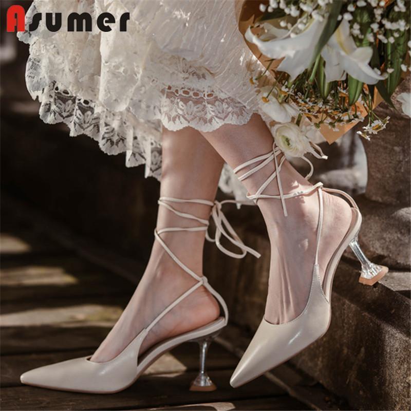 Asumer party hochzeit schuhe frauen sandalen echtes leder spitze spitze kreuz gebunden elegante high heels dame