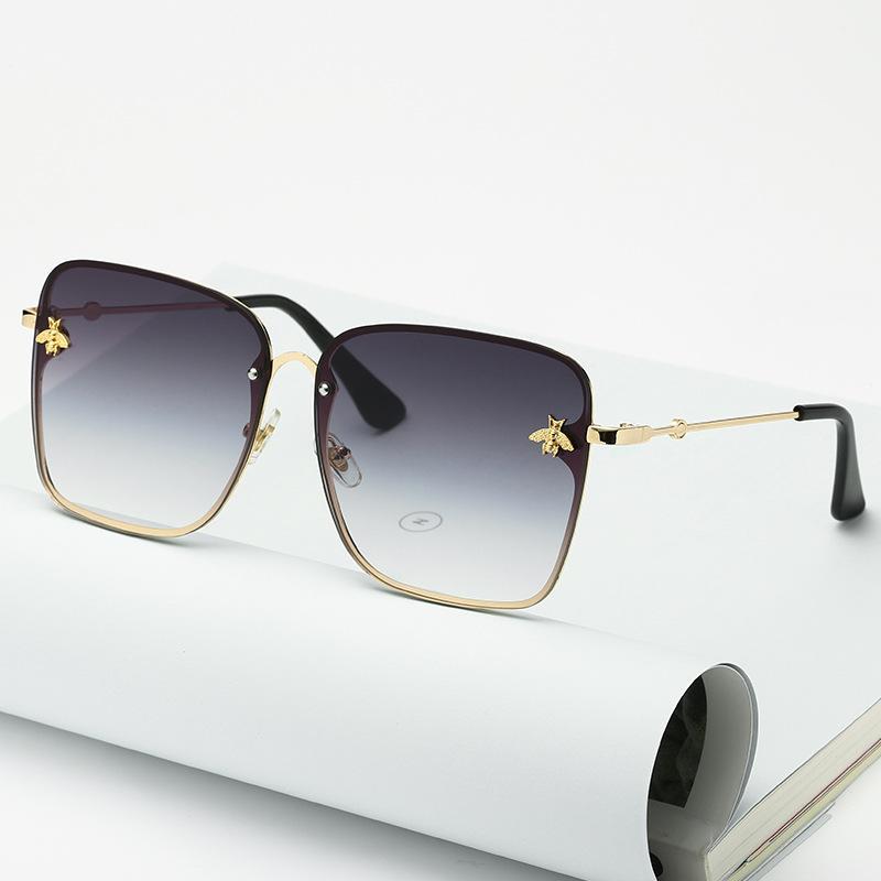 2021 Retro Big Frame Gafas de sol Hombres Mujeres Diseñador de marca Moda Retro Gradiente Gafas de sol Hombres Azul Gran Marco Vintage UV400