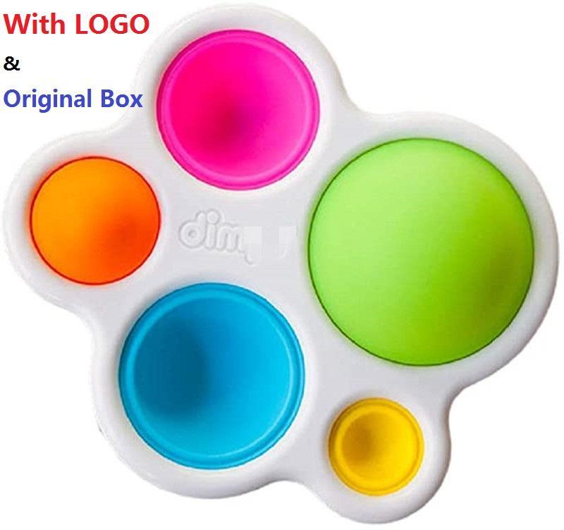 Logotipo Original e Caixa Simples Dimple Fidget Popper Brinquedos, Push Pop Fidget Push Pop Silicone Sensory Toys, Infantil Educação Antecipada Areia Atenção Brinquedos Presente