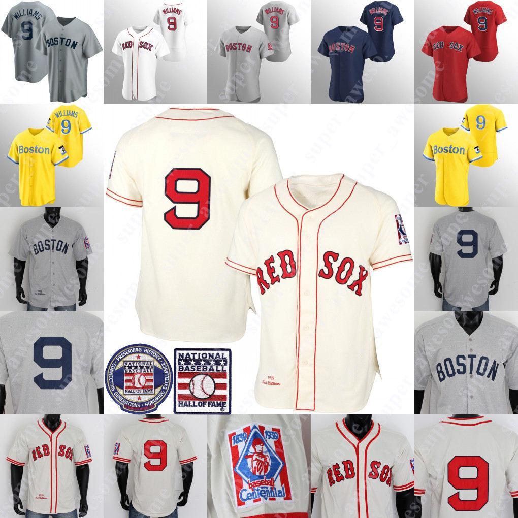 تيد وليامز جيرسي البيسبول 1939 كريم رمادي أبيض أبيض قاعة حمراء من الشهرة التصحيح الفانيلة