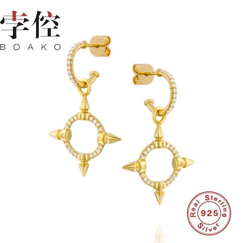 Personalidad S925 Pendientes de plata para mujeres 2021 Zircon Stud Girls Regalo Pendientes Brincos Aretes Fine Jewelry