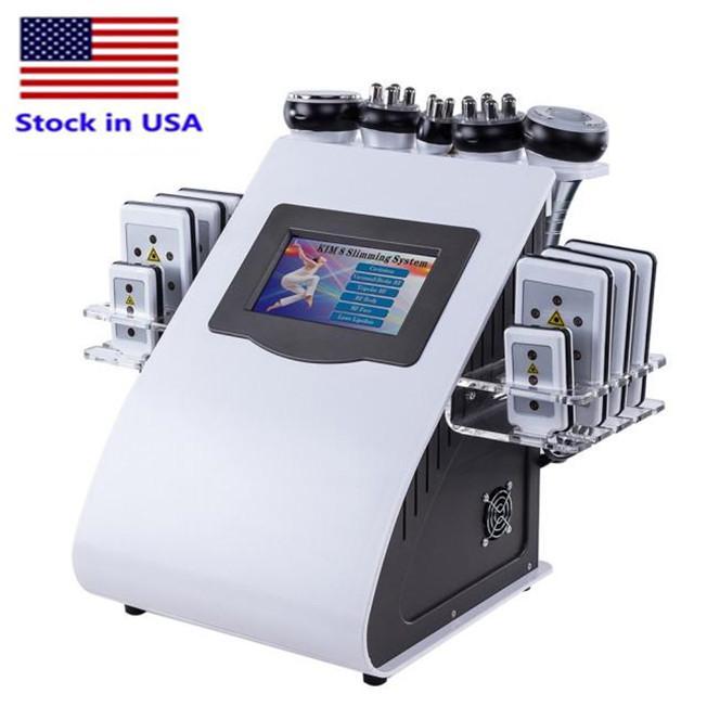 الأسهم الولايات المتحدة الأمريكية 40K التخسيس 6 في 1 العلاج بالموجات فوق الصوتية فراغ آلة تردد تردد الراديو لمعدات التجميل سبا