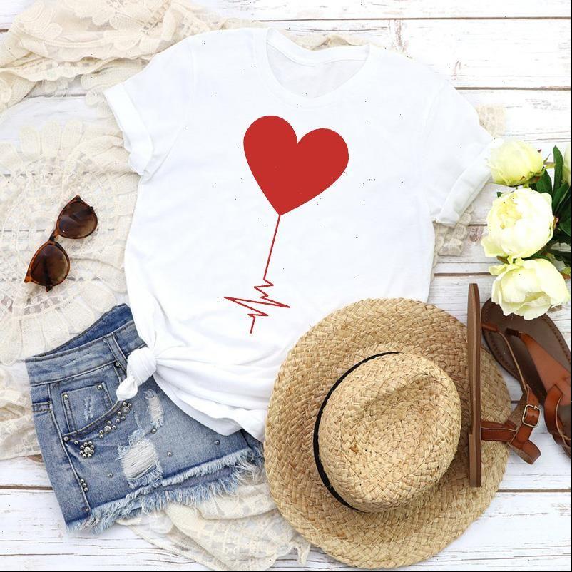 Women Graphic Love T Shirt Shape Valentine 90s Cute Fashion Short Sleeve Print Tops Tees Clothing Female Womens