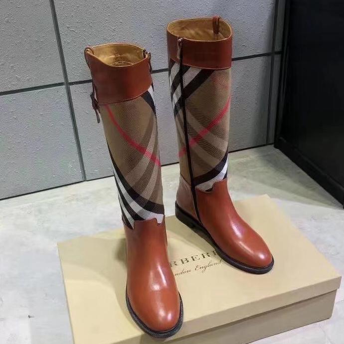 2021 Vender bem moda mulheres botas de couro genuíno tecido de algodão letras redonda cabeça média boot para botas de cowboy home011 11