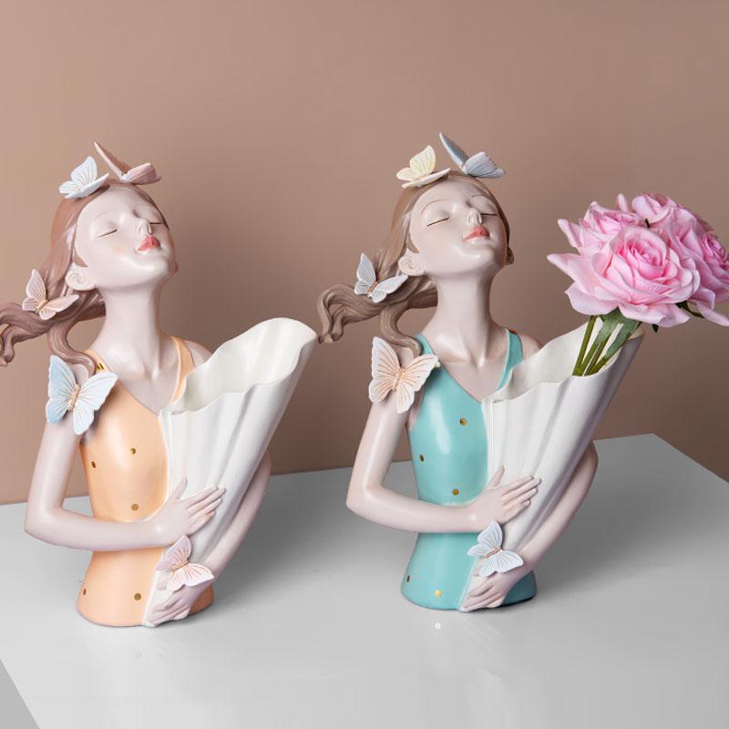 الكائنات الزخرفية التماثيل الإبداعية الراتنج باقة الفتيات النحت الحلي تماثيل الهدايا غرفة المعيشة تلفزيون مجلس الوزراء وضع زهرة