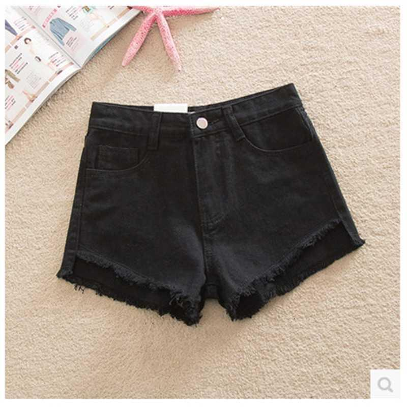 Jeans Summer Summer Korean High Waist White Denim Shorts Gamba larga da donna