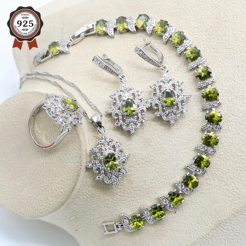 Set di gioielli da sposa Verde Peridot Bianco Zirconia Bridal Set per le donne Braccialetto d'oliva Orecchino Collana Collana Anello con pendente Anello Regalo
