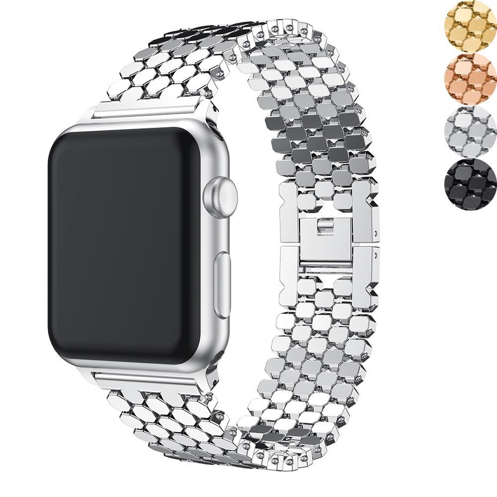 Lüks Bilezik Kayışı Için IWatch 40 / 44mm 38mm 42mm Paslanmaz Çelik Fit Apple Watch Band Askıları IWatchband 6 5 4 3 Metal Kemer Watchband