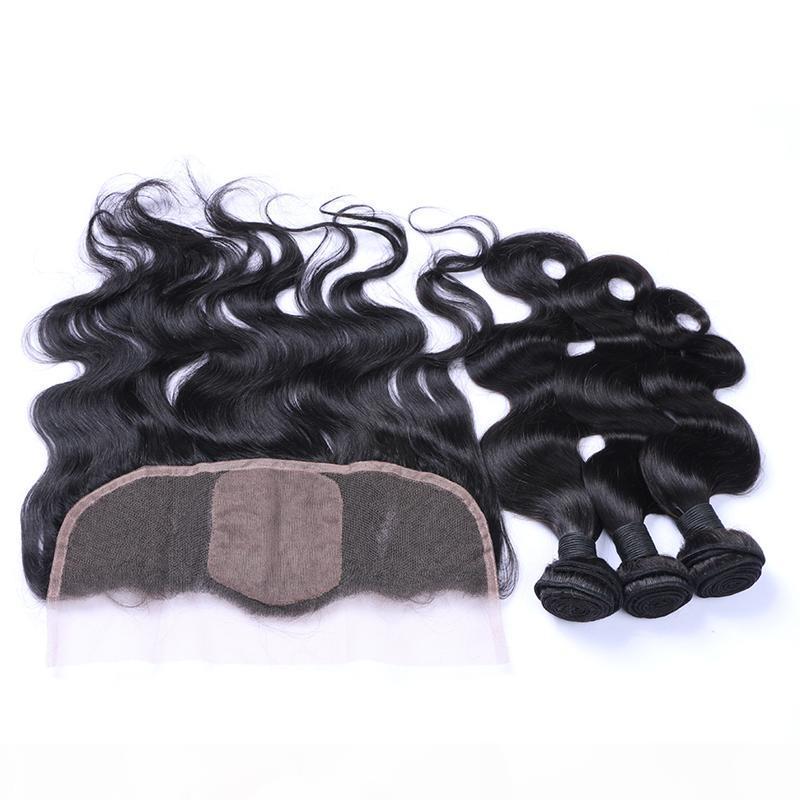 Vergine peruviana 8a Capelli 13 * 4 Body Wave Bundles con base in seta Colore naturale pizzo frontale con capelli per bambini per donna nera