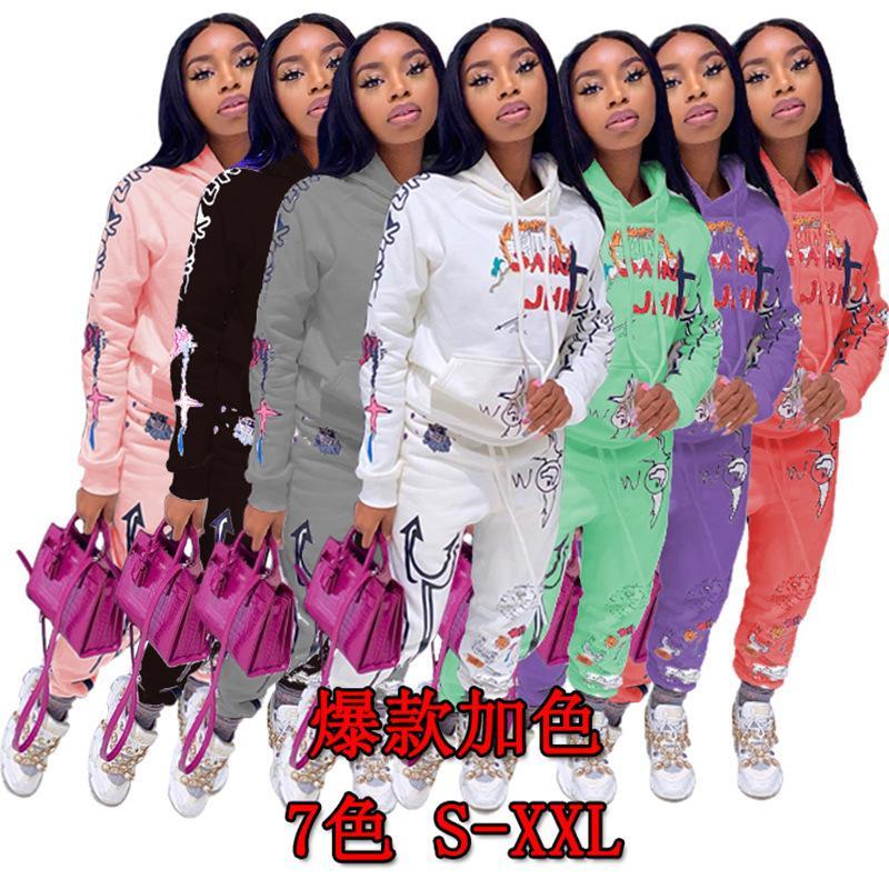 Baskı Graffiti Streetwear İki 2 Parça Set Eşofman Kadın Beyaz Siyah Hoodies Pantolon Kadın Eşleştirme Kıyafetler Sweat Suit