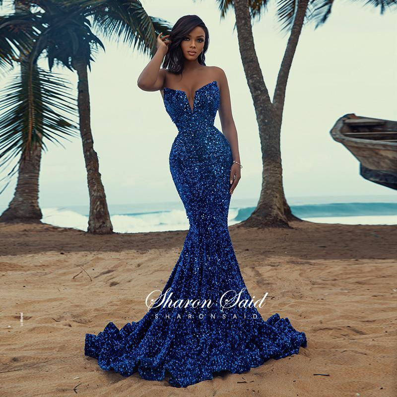 Party Dresses Sparkly Sequin Royal Blue Evening Dress Sexy Mermaid African Prom For Black Girls Graduation Wedding Formal Gowns