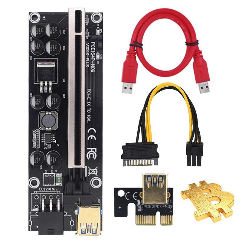 Gpu Pcie Riser Card 009s plus PCI-E 1X 4x 8x 16x Extender 60cm USB3.0 Cable Dual 6Pin Adapter For BTC LTC Mining