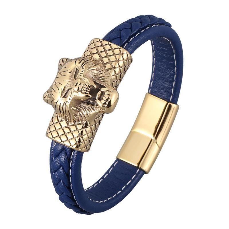 Blue Cuir Charm Bracelets Men Party Bijoux En Acier Inoxydable Tête de loup Mélanger Punk Rock Bracelet Homme Bracelet SP0887