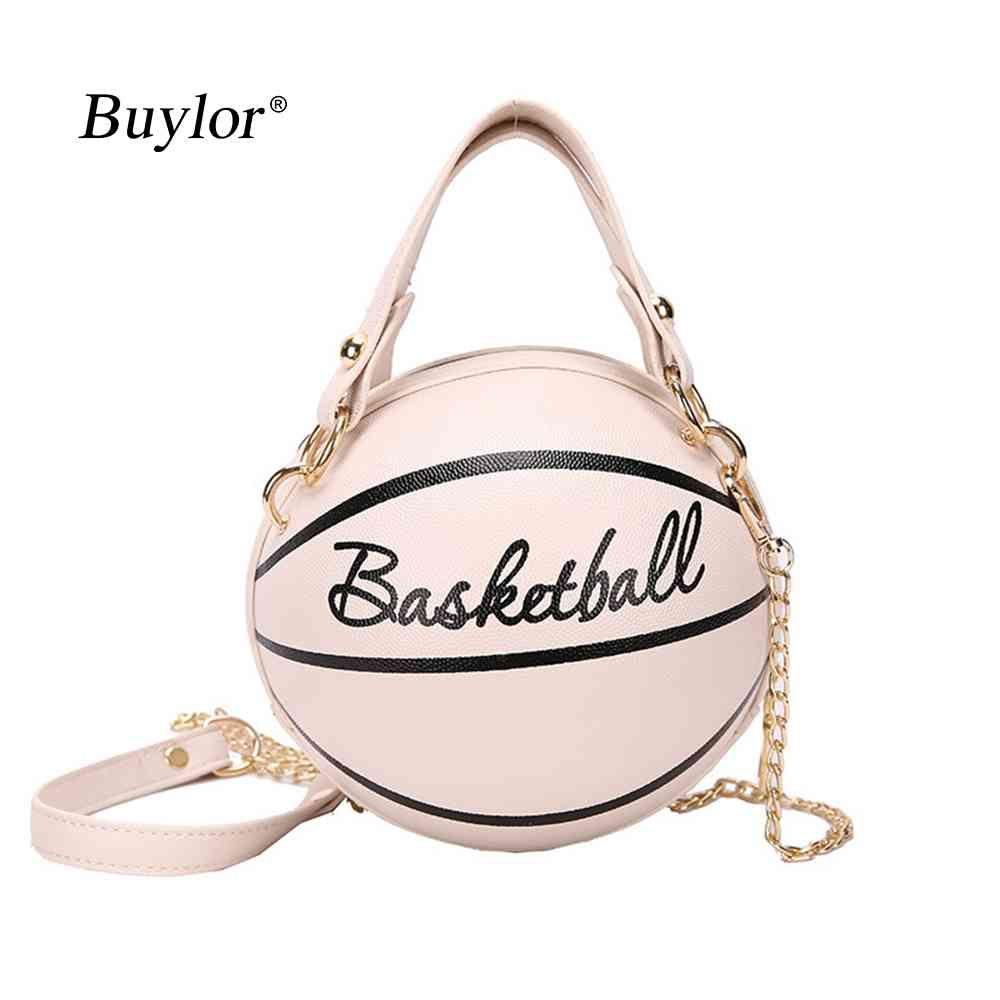 Buylor Personality Basket Blackbady Bag per le donne Casual PU Borsa in pelle PU Carino Round Ball Borsellino Wacky Femmina Catene Tote Y0422