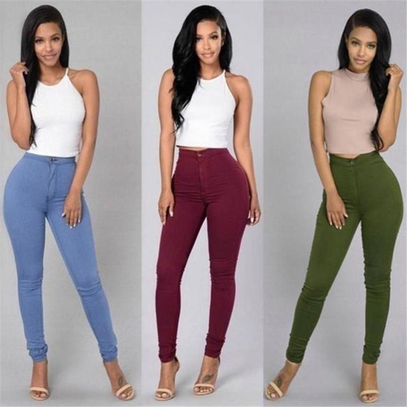 Solid Wash Skinny Jeans Mujer de la cintura alta Pantalones de mezclilla MÁS TAMAÑO PULSOS PULSOS PULSOS CALIENTE LÁX FEMENINO MUJER MUJERES