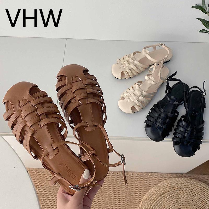 النساء الشقق الصنادل 2021 الصيف عارضة الصليب النسيج مغلقة جولة تو أحذية جلدية خمر الأزياء البني الإناث عارضة الأحذية