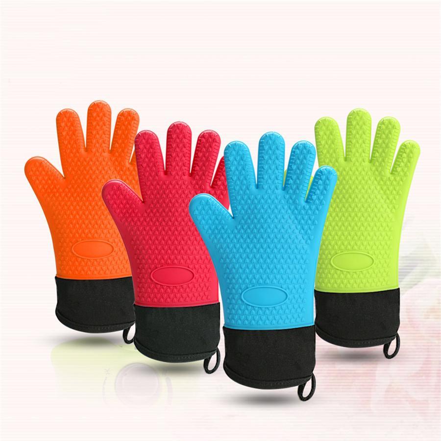 Hitzebeständige Kochhandschuhe Silikon Grilling Handschuhe Lange Wasserdichte Küchenofenhandschuhe für Grill Kochen Backen GWB7901
