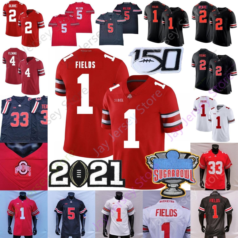 2021 NCAA Ohio State Buckeyes Football Jersey Osu Garrett Wilson Justin Fields Fleming Chris Olave Chase Young Elliott Master Teugue III 블랙 레드