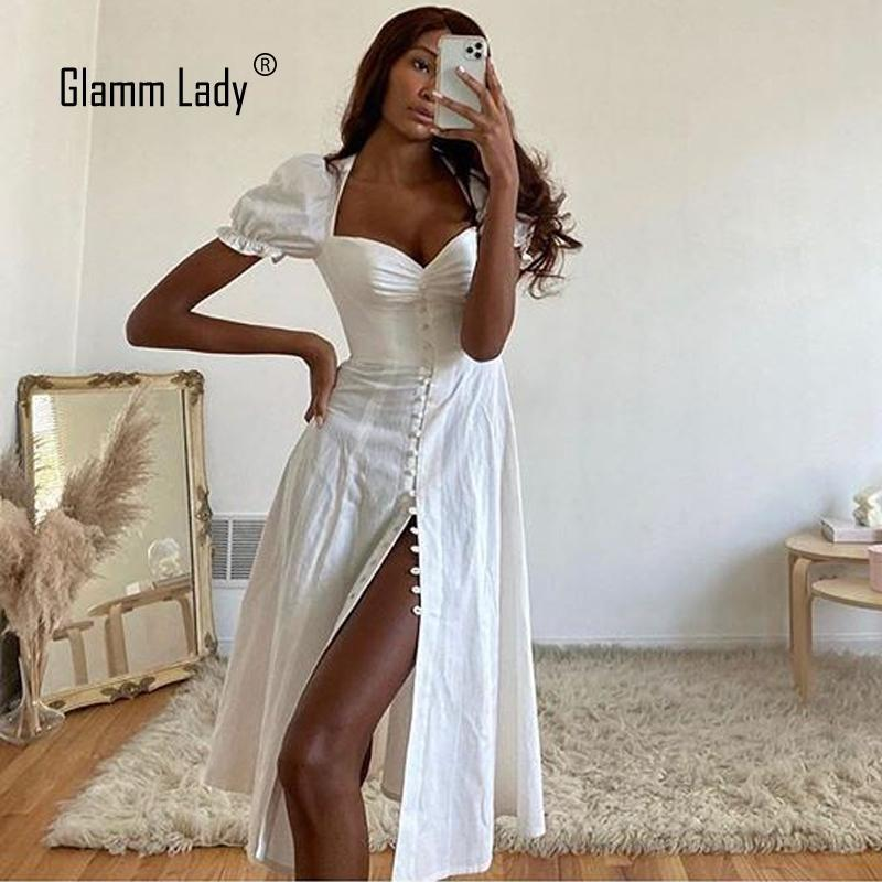 Günlük Elbiseler Glami Bayan Seksi Beyaz Elbise Yaz Sonbahar Parti Kadınlar Straplez Katı Bodycon Midi Club 2021 Vestido