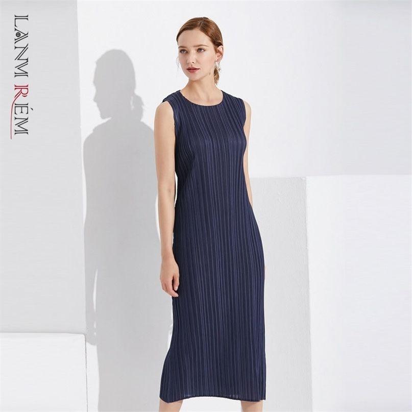 Robe en vrac bleu foncé Long plissé femmes plissées tempérament rond coulée sans manches décontractées robes d'été 2D1405 210526
