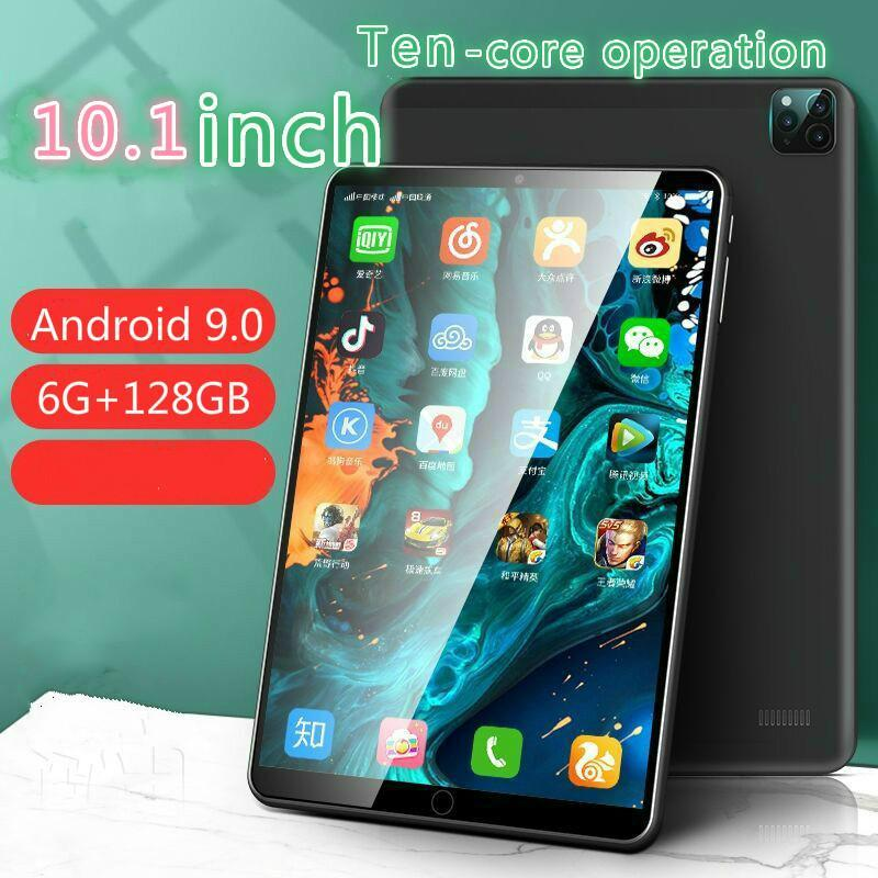 Tablet PC 10.1 Inch Rear Three Cameras 6GB + 128GB ROM 4G Call Phone Android 9.0 Octe Core Dual SIM Card Screen GPS