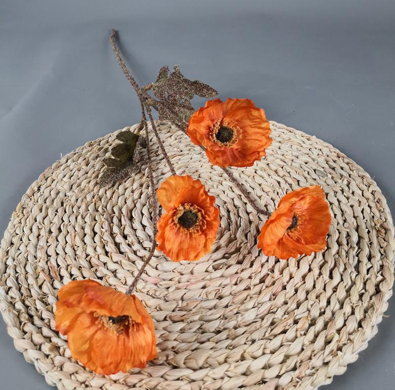 60 cm 4 Köpfe Seidenmais Mohnblume Herbst Farbe Zweig Hochzeit Dekoration Dekoration Künstliche Blumen OOD5886