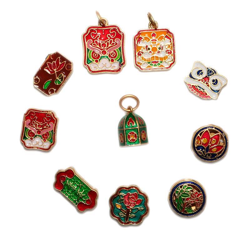 10 stücke original design charms emaille porzellan bunte handwerk ruyi schloss anhänger chinesisch retro stil einzigartige männer und frauen schmuck