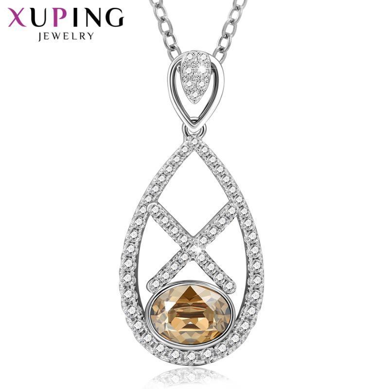 Xuping مجوهرات الأزياء الكلاسيكية بلورات القلائد مع مطلي الروديوم للنساء بنات هدايا رائعة 40371 قلادة