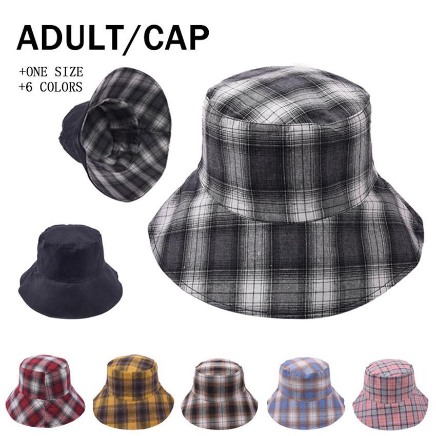 الجانب المزدوج يمكن ارتداء! 6 هات دلو منقوشة قبعة صياد القبعات صن ستريت في الهواء الطلق الرياضة المد قبعات الربيع سقوط الصيف LLA689