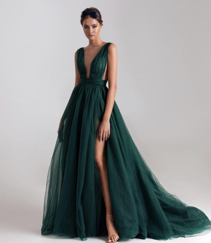 الظلام الأخضر فساتين الزفاف مع خط عارية الذراعين الخامس الرقبة فستان العروس الزفاف حديقة حزب السراويل للنساء مخصص تول سبليت ميلا نوفا
