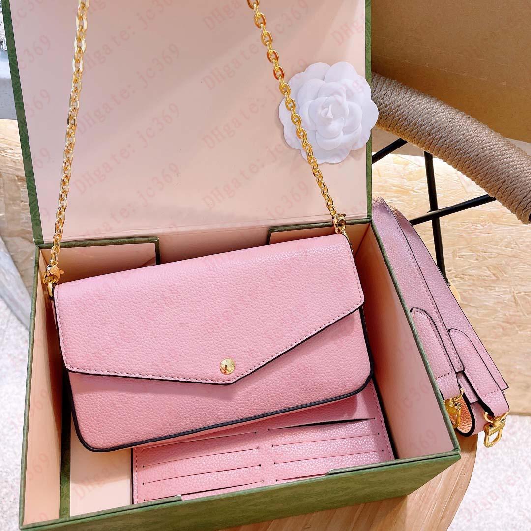 Высокий конец три в одной букве мода женская сумка на плечо цепь цепь цепи классической печати градиент цвета маджонг настоящая кожаный кошелек 3 частей набор