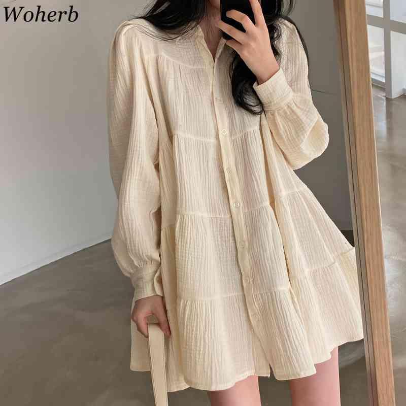 Coréen Casual Long Lantern Manche Robe plissée Femmes Élégant Col rond Mini robes lâches chic robe vestido 210417