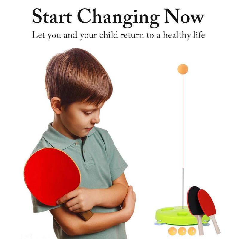 실내 또는 야외 놀이 공을위한 탄성 부드러운 샤프트 탁구 훈련 도구가있는 탁구 트레이너