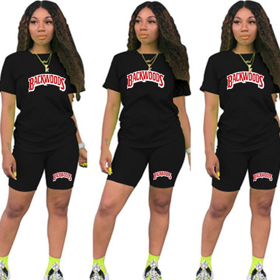 T Shirts y mujeres Dos piezas de piezas de verano de manga corta O-cuello casual de 2 piezas Joggers Biker Shorts Outfit para mujer