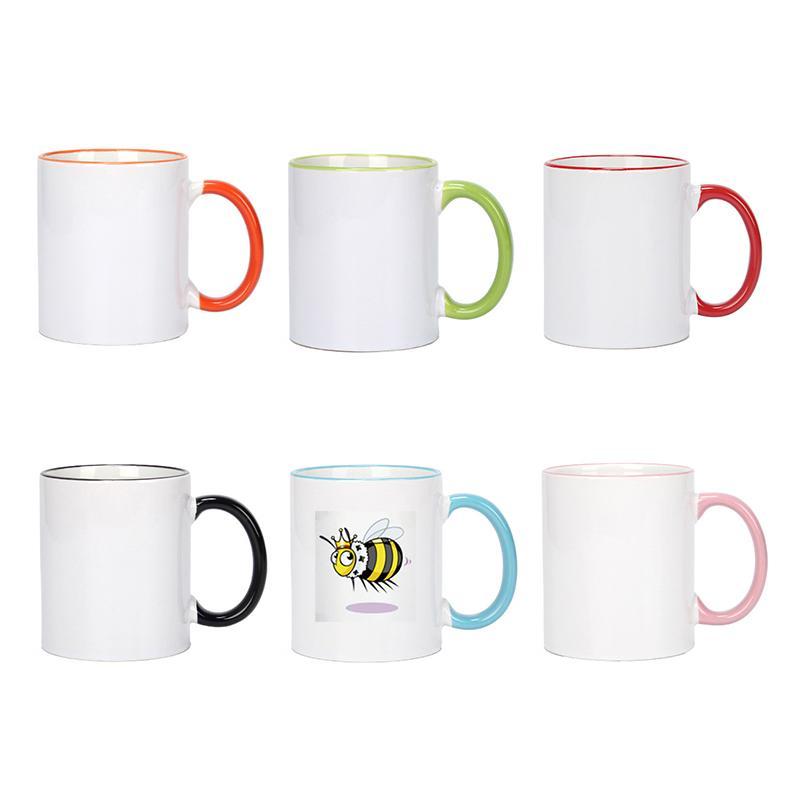320ml sublimação caneca cerâmica em branco transferência de calor MDF MDF canecas personalidade diy simples copo de café 7 cores suprimentos de presente