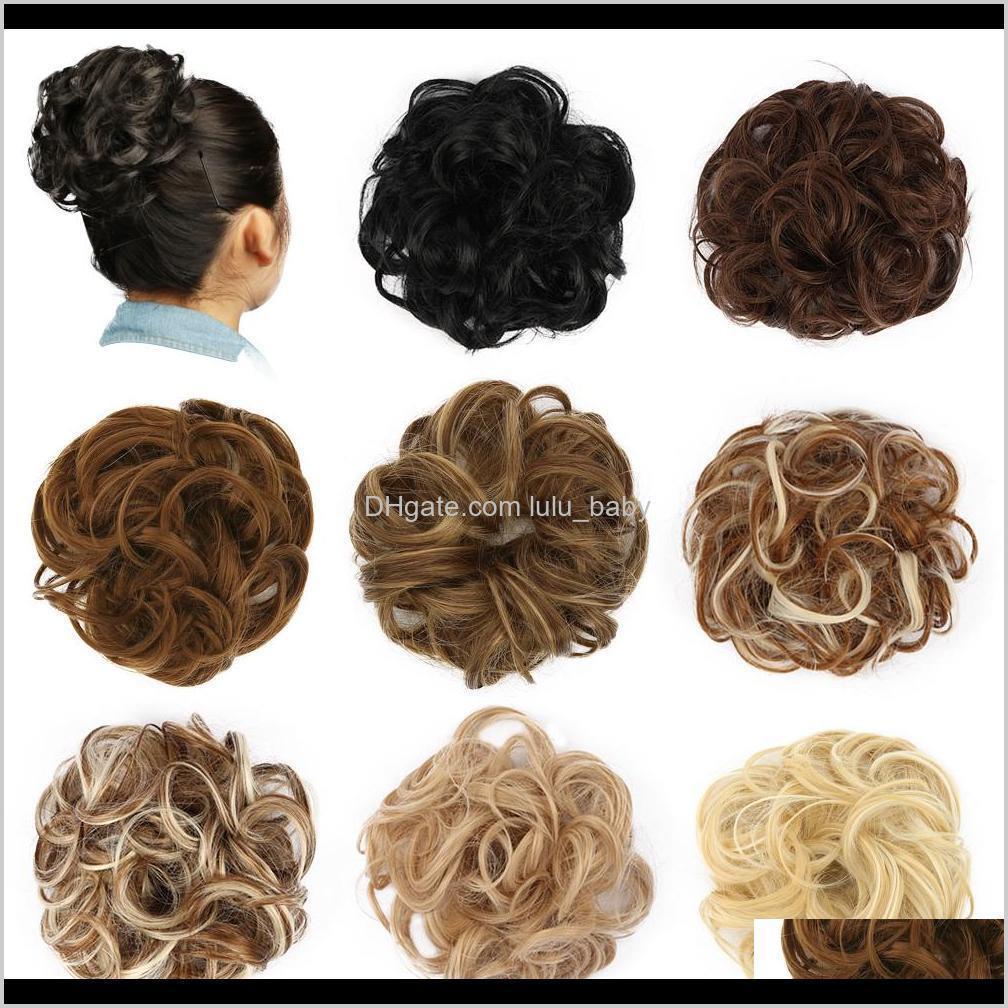 Chignons Chignon Bötchen Haarteil Lockige Scrunchie Erweiterungen Blond Braun Schwarz Hitzebeständige Synthetik Für Frauen Hair Stücke 88UKX LFEVU