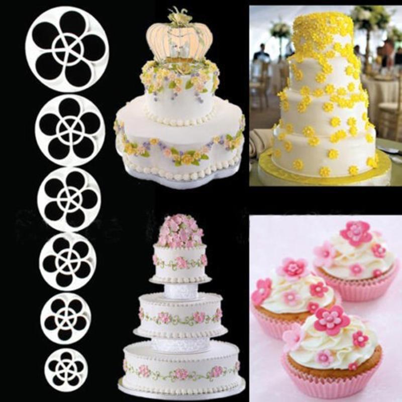 Baking Moulds 6PCS 3D Cake Easiest Rose Petal Flower Cutter Mold Fondant Icing Decorating Mould Sugarcraft Tools