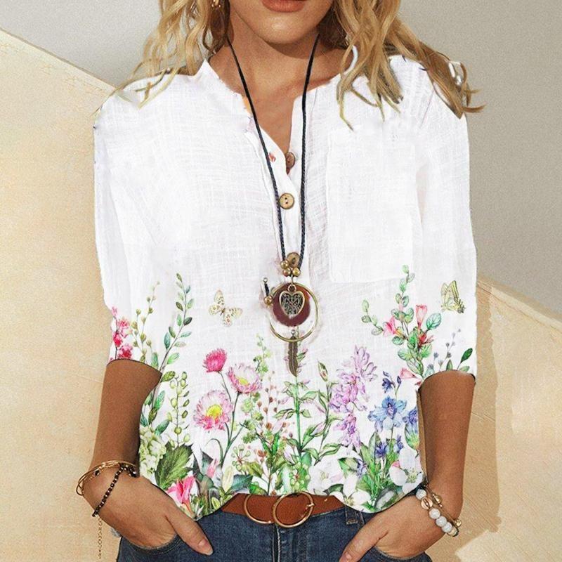 Women's Blouses & Shirts Women Blouse Tops Floral Printing Splicing V-Neck Button Casual Medium Sleeve Shirt Summer Plus Size Elegant Boho T