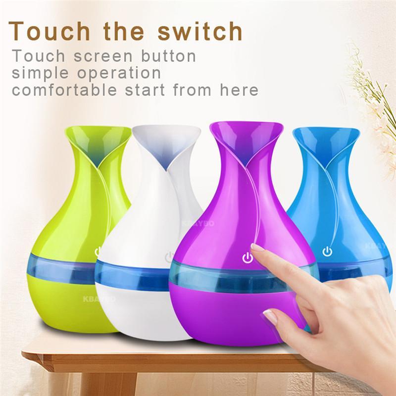 300ml USB 아로마 디퓨저 미니 초음파 공기 가습기 꽃병 모양 분무기 아로마 테라피 에센셜 오일 디퓨저 홈 오피스