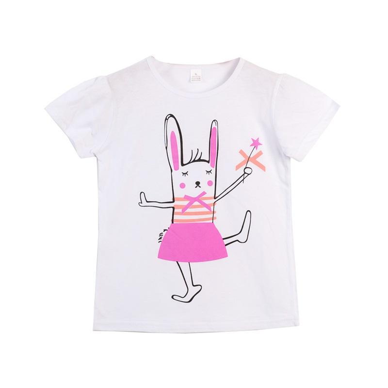 Baby girl t-shirt camicia estate cartoon manica corta tee top fiore coniglio unicorno giraffa animale stampato abbigliamento bambino 11 colori 692 x2