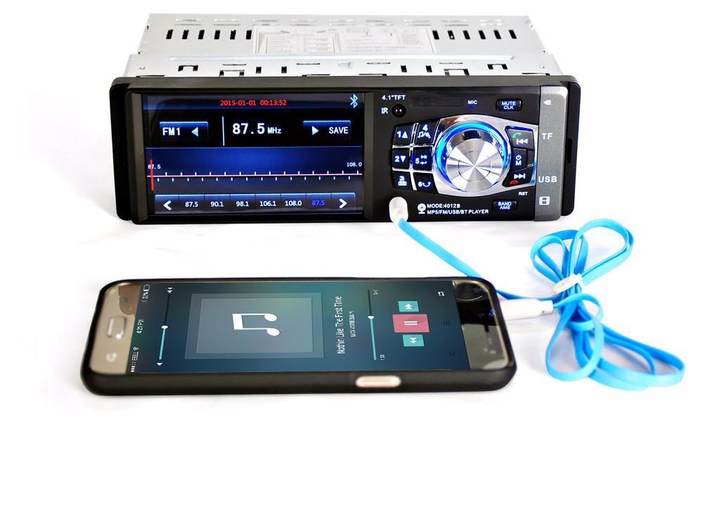12 V 4.1 인치 블루투스 HD 디지털 자동차 FM 라디오 MP5 플레이어 USB SD AUX 인터페이스 정의 하나의 DIN TFT 오디오 비디오 무료