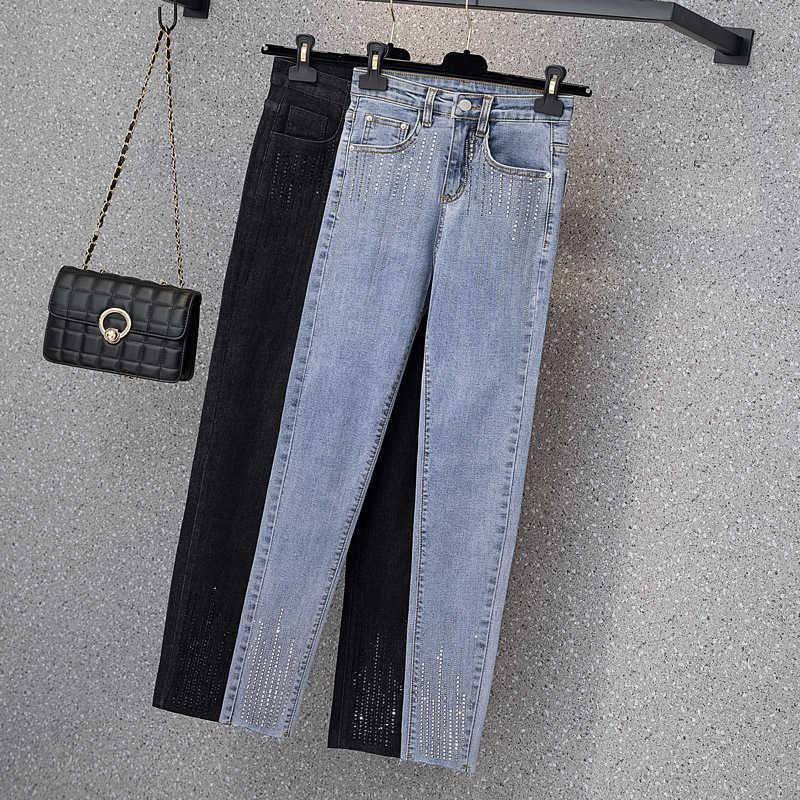 2021 Pantalones vaqueros de cintura alta de mujeres grandes Slim Sister Laastic Diamond Leggings