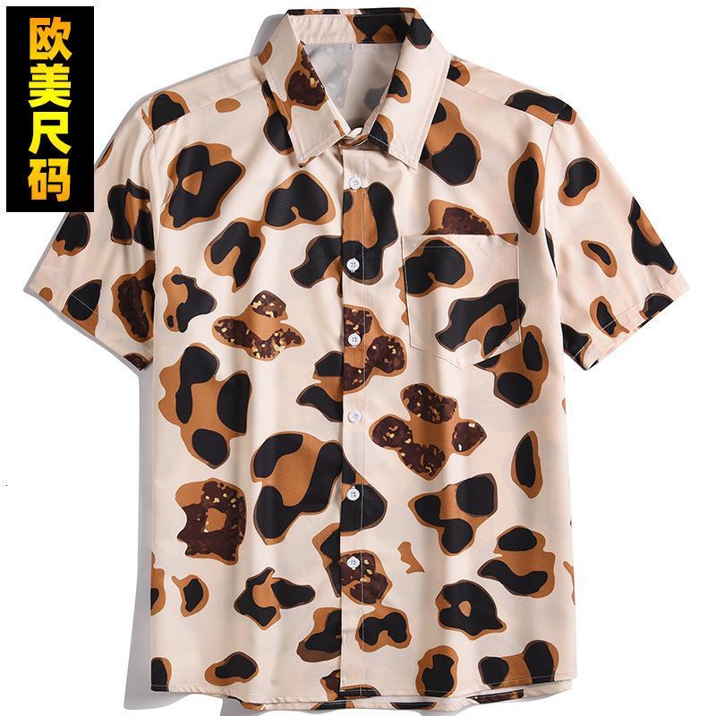Primavera y verano 2021 calle personalizada Resumen de impresión digital suelta camisa para hombre