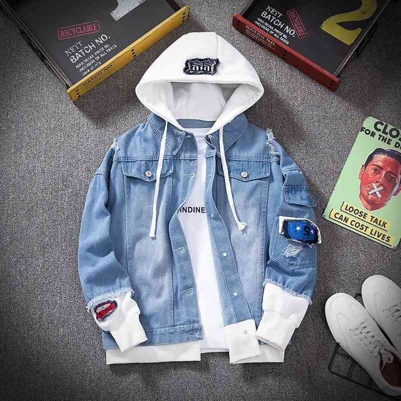 E-Baihui homens denim jaqueta streetwear hip hop capuz jeans jaquetas masculino casual solto outerwear 2021 primavera moda fina cab casaco