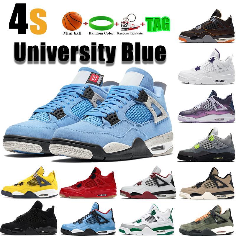 4 Üniversite Mavi 4 S Erkek Basketbol Ayakkabıları Metalik Mor Yangın Kırmızı Kaktüs Jack Siyah Kedi Bred Unfftd SE Neon Erkek Kadın Sneakers