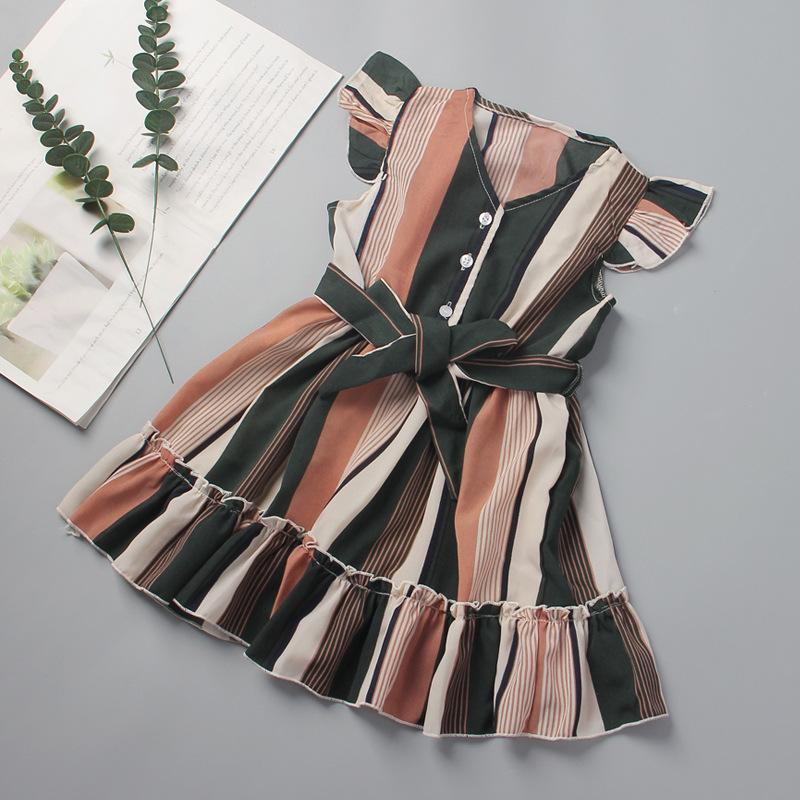 27kids Mädchen Kleid Sommer gestreiften Gürtel Flying Hülse Nähen Rock Für Kleidung Bow-Knoten Kleidung Party Stil 2-6Years Mädchen Kleider's Kleider