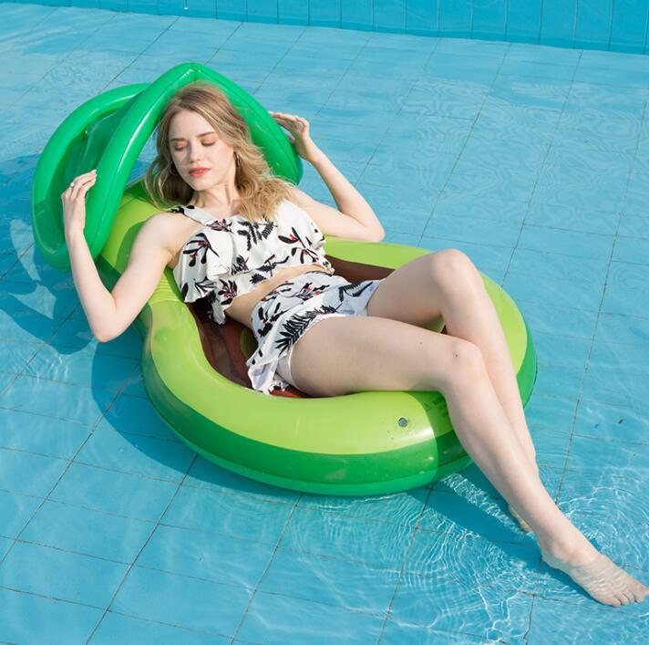 inflatable avocado mattress floating water air mesh hammock bed with detachable sunshade adult swim ring toy beach sofa lounge